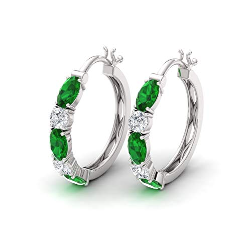(Diamondere Natural and Certified Emerald and Diamond Huggies Earrings in 14K White Gold | 1.66 Carat Earrings for Women)
