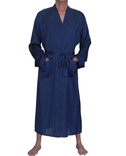 (SexyTown Long Satin Lounge Loose Bathrobe Men's Charmeuse Sleepwear Pockets X-Large Dark Blue)
