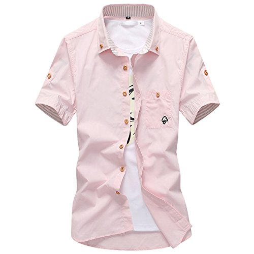 Embroidery Cotton Casual Short Sleeves Shirts Men Slim Contrast Color Casual Shirts Pink Asian Size 4XL ()