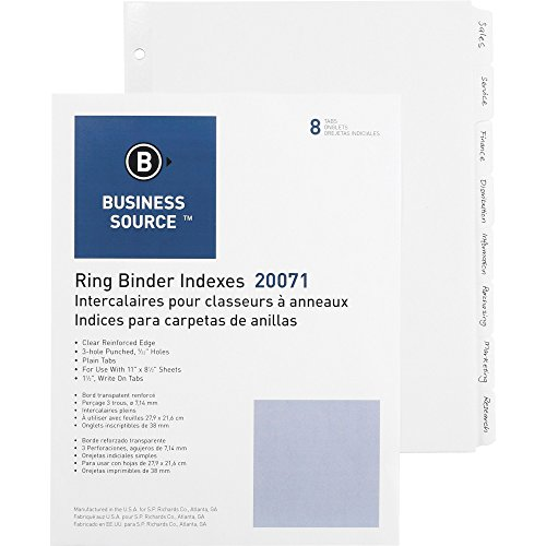 """Business Source 3-Ring Plain Tab Indexes, 8-1/4"""" Wide Tab (20071)"""