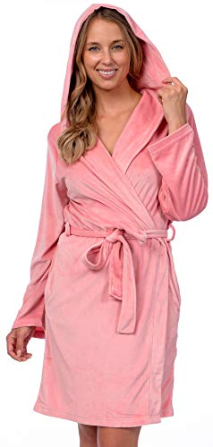 Pink Lady Women's Soft Velour Hooded Wrap Bath Robe (Pink Icing, S/M) (Hooded Robe Short)