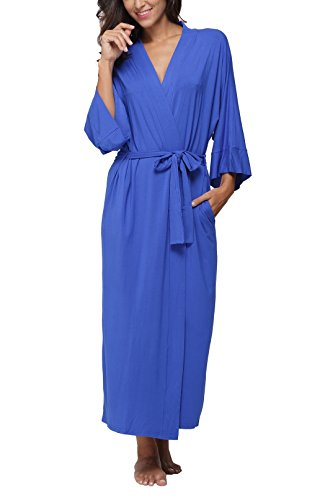 FADSHOW Women's Soft Long Sleepwear Modal Cotton Wrap Robe Bathrobe Nightgown (Wrap Robe)