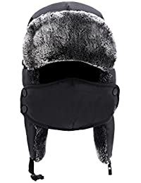 Winter Trooper Trapper Ski Hat Ushanka with Two Windproof Mask, Unisex, Black Winter Hat, One Size