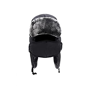 ApudArmis Winter Trooper Trapper Ski Hat Ushanka with Two Windproof Mask, Unisex, Black Winter Hat, One Size