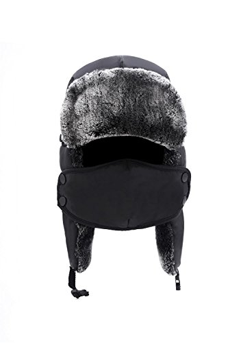 ApudArmis Winter Trooper Trapper Ski Hat Ushanka with Two Windproof Mask, Unisex, Black Winter Hat, One - Size 22 Hat