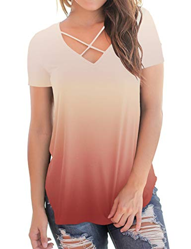 - Plus Size Tops for Women Short Sleeve V Neck Gradient Summer Casual Tee Top Coral