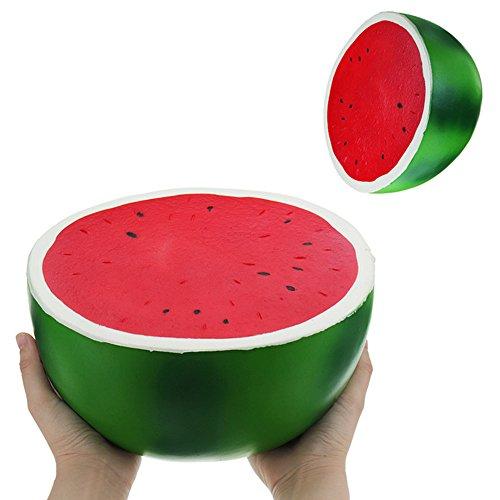 Vent Half (Leoie 25cm Super Large Squishy Half Watermelon Shape Slow Rising Toy Children/Adult Fruit Shape Vent Soft PU Squeeze Stress Relieve Toy)