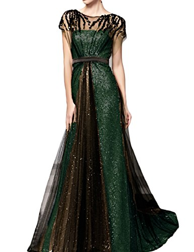 OYISHA Womens Long Sequins A-line Evening Dress Formal Gowns with Sleeves 3SQ Jade Black 10