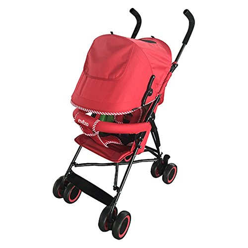 Evezo-Sander-Lightweight-Adjustable-Baby-Stroller-Red