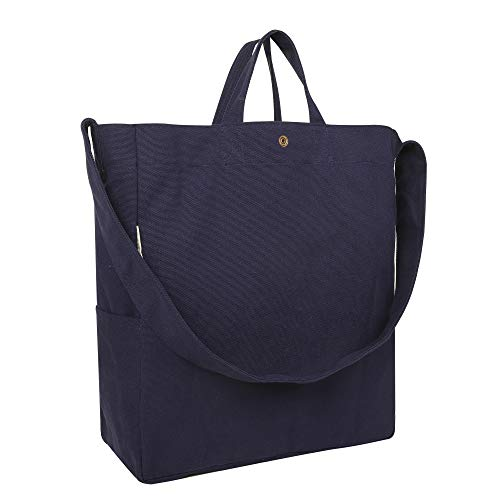 Apackr Canvas Tote Shoulder Bag Crossbody Casual Daypack Handbag for Travel, Shopping and Daily Use (Navy)