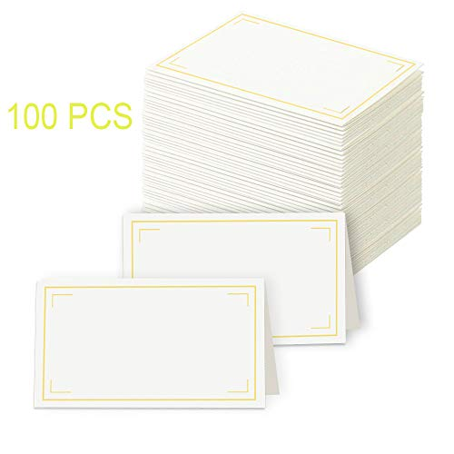 Table Seating Cards (Toncoo Place Cards, 100Pcs Premium Small Tent Cards with Gold Foil Border, Texture Table Kraft Paper Cards, Ideal for Wedding Table Name Number Buffet Blank Seating Cards, 2 x 3.5)
