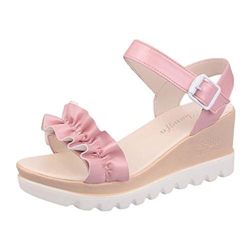 Da Basse Ragazze Aperte Pink Taccco Elegante Scarpe Sandali Peep Donna Casuale Lvguang Tacco Alto Toe qwZ40vtC