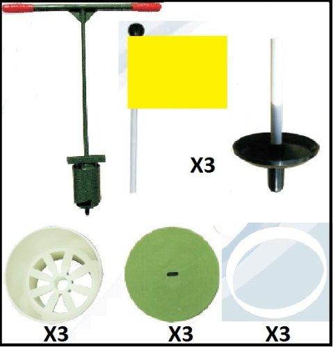 ゴルフホールカッティンググラスファイバーパッティンググリーンピン&イエローフラッグセット   B004YQ8EQI