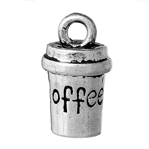 - PEPPERLONELY 10pc Antiqued Silver Alloy 3D Cup Message Coffee Carved Charms Pendants 15x8mm (5/8