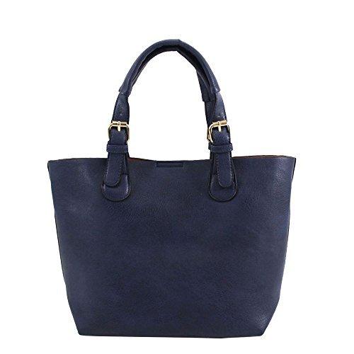 Haute für Diva S Damen NEU einfarbig Kunstleder zusätzlichen Tasche Zwillings Henkel Schultertasche Tasche Set - Schwarz, Large Marine