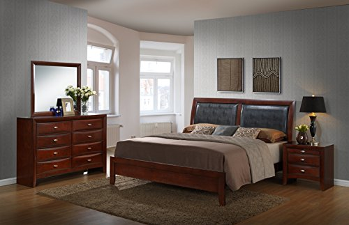 Roundhill Furniture Emily 111 Contemporary Wood Bedroom Set with Bed King Size Panel Sets