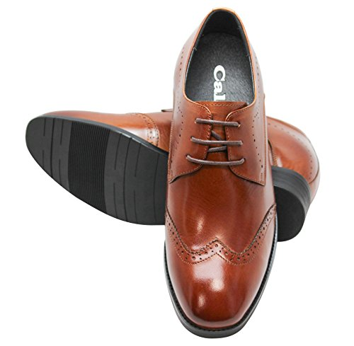 G1089 Brown 3 CALTO Lace Elevator Shoes tip Increasing Leather Taller Height up Inches Wing dT8xwApq
