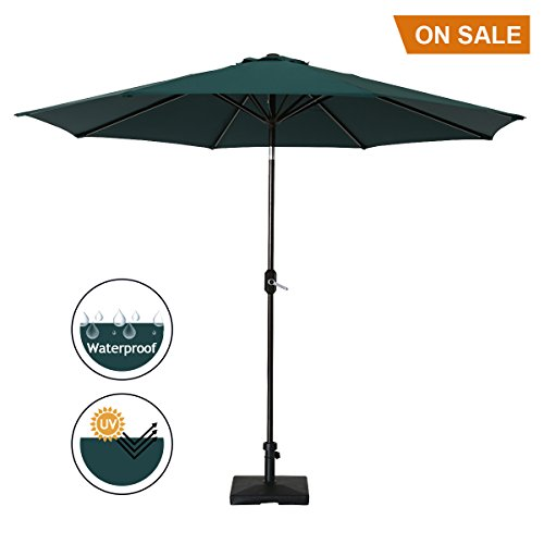 SUMBEL Outdoor Umbrella 9 Feet Aluminum Market Umbrella Table Umbrella with Push Button Tilt for Patio, Garden, Deck, Backyard, Pool, 100% Polyester, Green