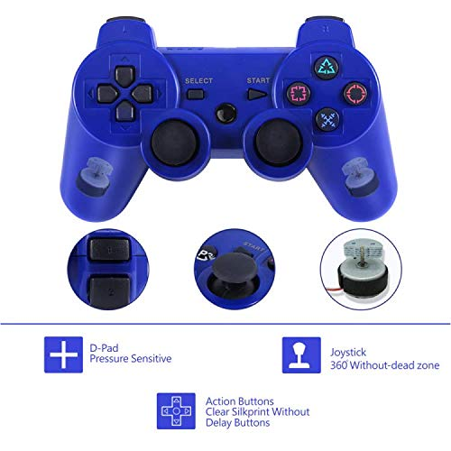 - PS3 Controller, Wireless PS3 Controller Double Shock Gamepad for Playstation 3, Sixaxis Controller with Charging Cable (Blue)