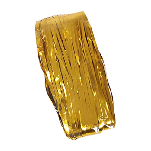 4 Pack Foil Curtains Metallic Fringe Curtains Shimmer Curtain for Birthday Wedding Party (Gold) ()