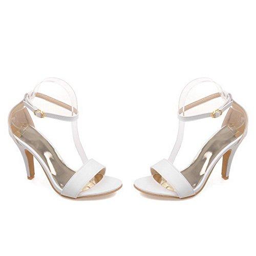 AllhqFashion Womens Buckle High-Heels PU Solid Open Toe Heeled-Sandals White SFPz0XxKW