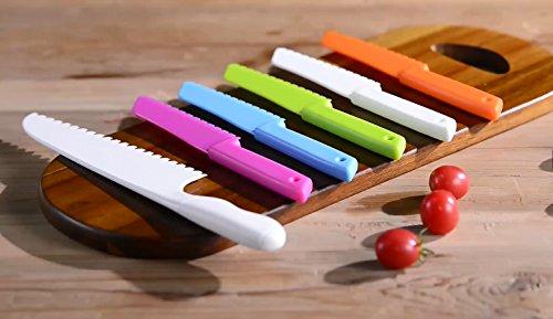 ONUPGO Plastic Kitchen Knife Set with Serrated Cutting Edges - Kids Safe Chef Nylon Knife/Children's Cooking Knives for Fruit, Bread, Cake, Lettuce and Salad (White) by OnUpgo (Image #6)