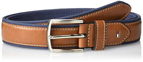 Tommy Hilfiger Men's Ribbon Inlay Belt - Fabric Belt with Single Prong Buckle, Navy Leather, 38 ()