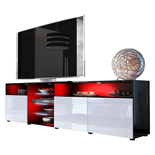 Meble Furniture & Rugs TV Stand Roma Matte Body High Gloss Doors Modern TV Stand LED (black/white) (Gloss High Modern)