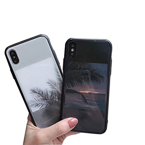 ICI-Rencontrer Vivid 3D Natural Landscape Painting Sky Sea Coco Pattern iPhone X Case SceneryTempered Glass Screen Protector Soft TPU Bumper Shockproof Anti-Scratch Phone Case (Sea, iPhone X)