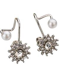 Women Fashion Sweet Snowflake Earrings Snow Flower Ear Stud Earrings Faux Pearl by TOPUNDER
