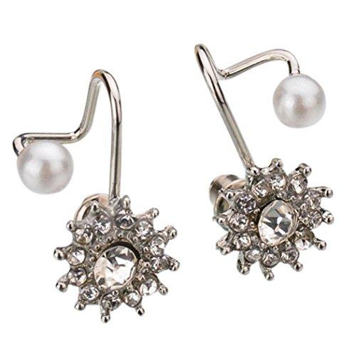 Women Fashion Sweet Snowflake Earrings Snow Flower Ear Stud Earrings Faux Pearl Silver by (Amber Sweet Costume)