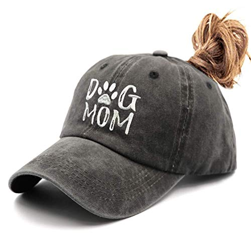 Waldeal Embroidered Ponytail Dog Mom Vintage Washed Distressed Dad Hat Messy High Bun Ponycaps Baseball Cap