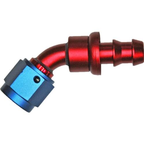 Discount -06 JIC 45 ° BEND PUSH ON HOSE END ALUM RED AND BLUE free shipping