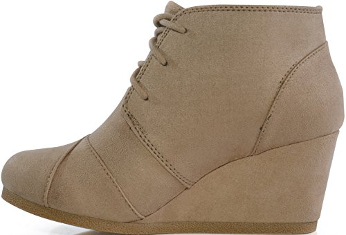 MARCOREPUBLIC Galaxy Womens Wedge Boots - (Taupe) - 10 by MARCOREPUBLIC (Image #3)'