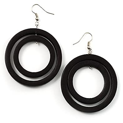 Dark Brown Wooden Hoop Earrings Amazon Co Uk Jewellery