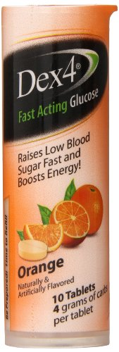 Dex4 Glucose Tablets, Orange, 10 Count (Pack of 4)