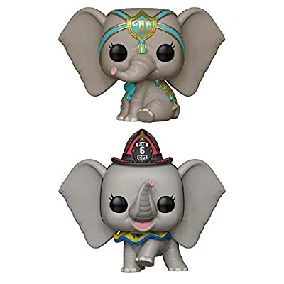Pop! Disney - Dumbo (Live - Dreamland Dumbo and Fireman Dumbo Vinyl Figures Set of 2: Toys & Games