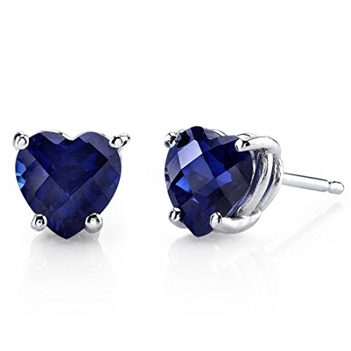 14 Karat White Gold Heart Shape 2.50 Carats Created Blue Sapphire Stud Earrings