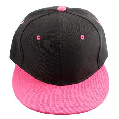 - Samtree Women Men Snapback Hats,Patchwork Solid Color Flat Bill Baseball Cap(03-Pink+Black)