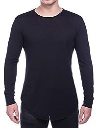 Men's Hipster Hip Hop Long Sleeve SWAG Curved Hemline T-Shirt