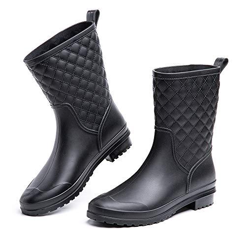 Wellington Boots Ladies Wellies Womens Rain Boots Short Ankle Wellies Chelsea Boot Garden Black Blue Khaki 3-7.5 UK