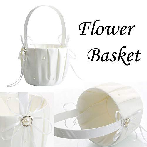 Romantic Gift Baskets,Picnic Fruit Basket Flower Wedding Basket Embroidered Wedding Flower Girl Basket Bridal Basket Satin Beaded Pearl Basket Bowknot Decor Graduation For Wedding Ceremony Party(Ivory