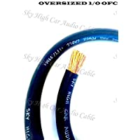 5 ft OFC 1/0 Gauge Oversized BLACK Power Ground Wire Sky High Car Audio