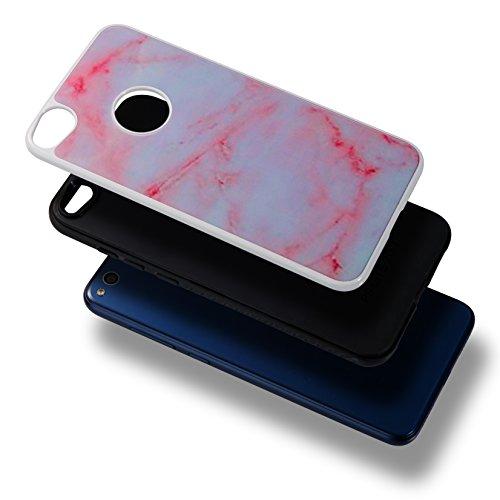 Funda Huawei P8 Lite 2017, 5.2 pulgadas, Cáscara Huawei P8 Lite 2017, Alfort Casco de Protección PC + TPU Material de la PC + TPU de alta calidad diseño de moda líneas de mármol marino azul Rosa
