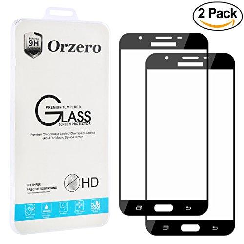 [2 Pack] Samsung Galaxy J7 V / J7 Perx / J7 2017 / J7 Sky Pro [ Full Cover ] Tempered Glass Screen Protector ,Orzero 2.5D Arc Edges HD Anti-Scratch [ Lifetime Replacement Warranty ]-Black
