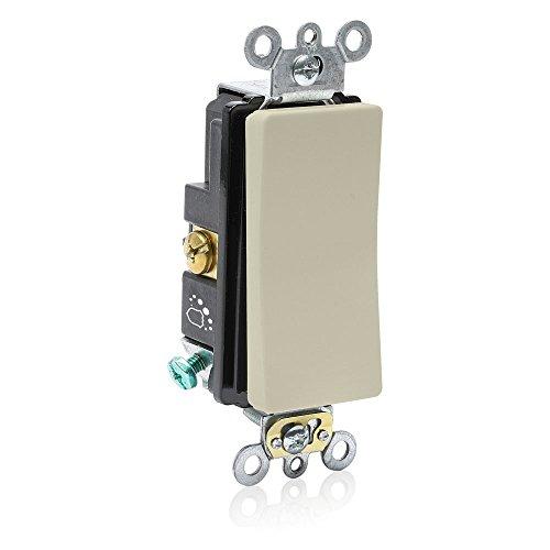 Leviton A5621-2I 20 Amp 120/277V Single-Pole Antimicrobial Treated Decora Plus Switch, Ivory