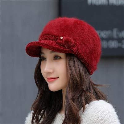 Amazon.com: Funnmart Women Winter Warm Rabbit Hair Cap Braided Baggy Knit Crochet Beanie Hat Ski Cap Gorra Militar: Kitchen & Dining
