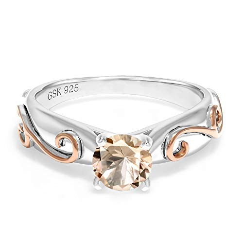 - 0.60 Ct Round Peach Morganite 925 Sterling Silver 2 Tone Vine Ring (Size 7)