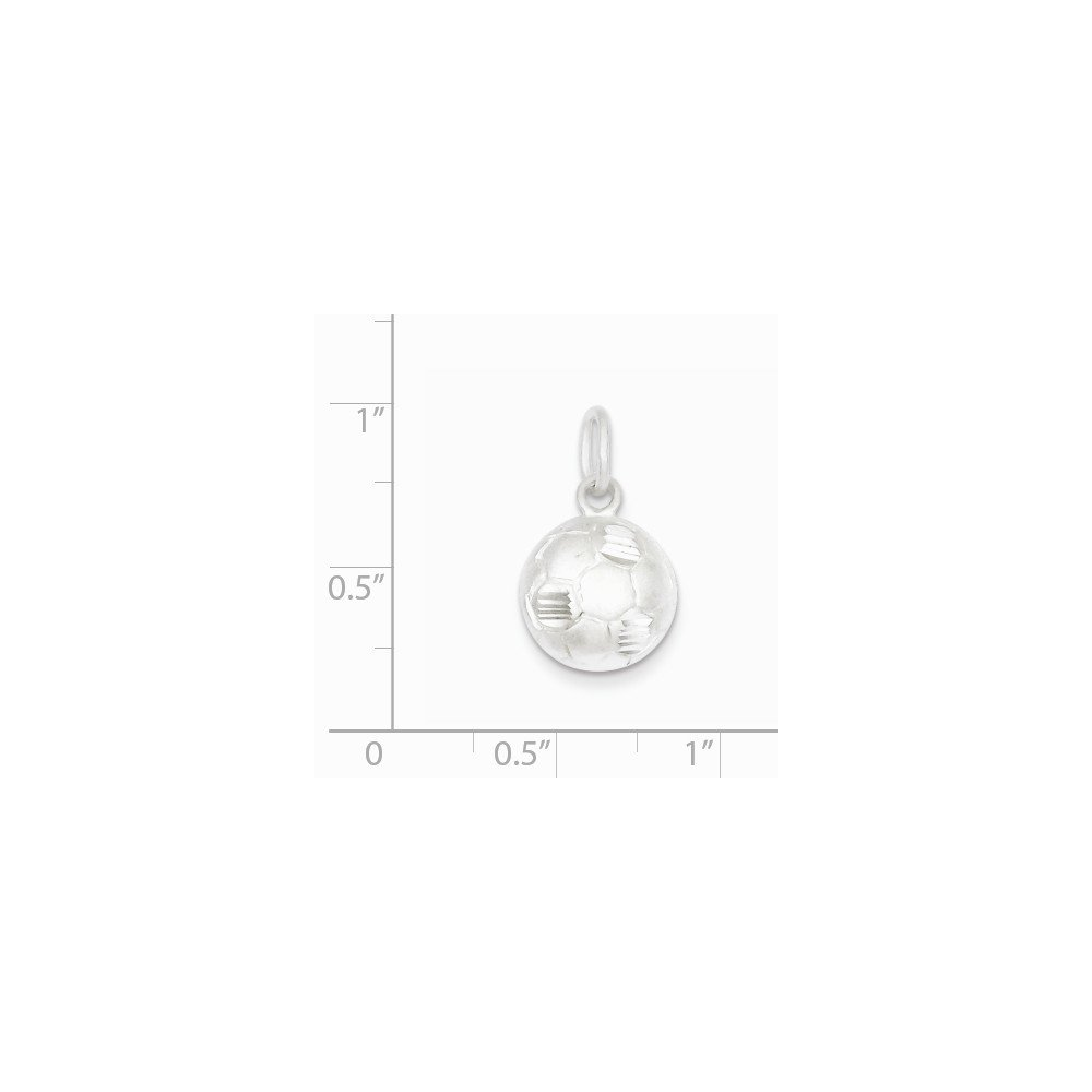 Mireval Sterling Silver Diamond Cut Soccer Ball Charm on a Sterling Silver Chain Necklace 16-20