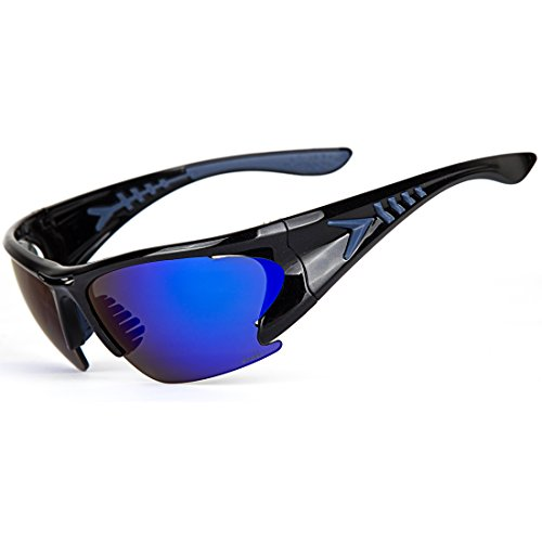 Shieldo Polarized Sports Sunglasses For Men And Women Running Cycling Fishing, Mirrored Integrated Polarized Lens Unbreakable Frame SLY001 - Sunglasses Beckham